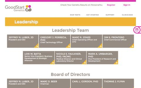 Screenshot of Team Page goodstartgenetics.com - Leadership Team | Good Start Genetics - captured Nov. 19, 2016