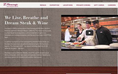 Screenshot of About Page flemingssteakhouse.com - About Us - Fleming's Prime Steakhouse & Wine Bar - captured Sept. 25, 2014