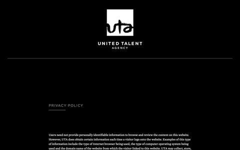 Screenshot of Privacy Page unitedtalent.com - Privacy Policy - United Talent Agency - captured Oct. 19, 2018