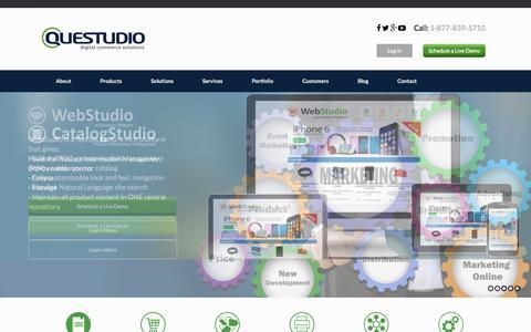 Screenshot of Home Page questudio.com - Home - Questudio   PIM software   Catalog Software - captured Oct. 9, 2015