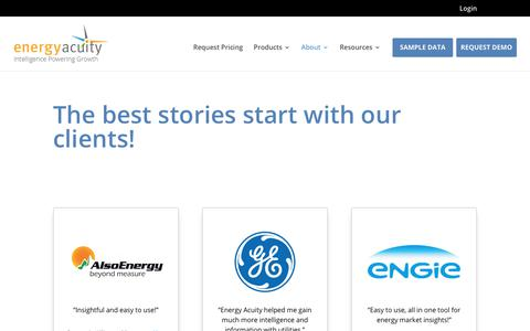 Screenshot of Testimonials Page energyacuity.com - Customer Success - The Best Stories Start With Our Customers - captured July 24, 2019