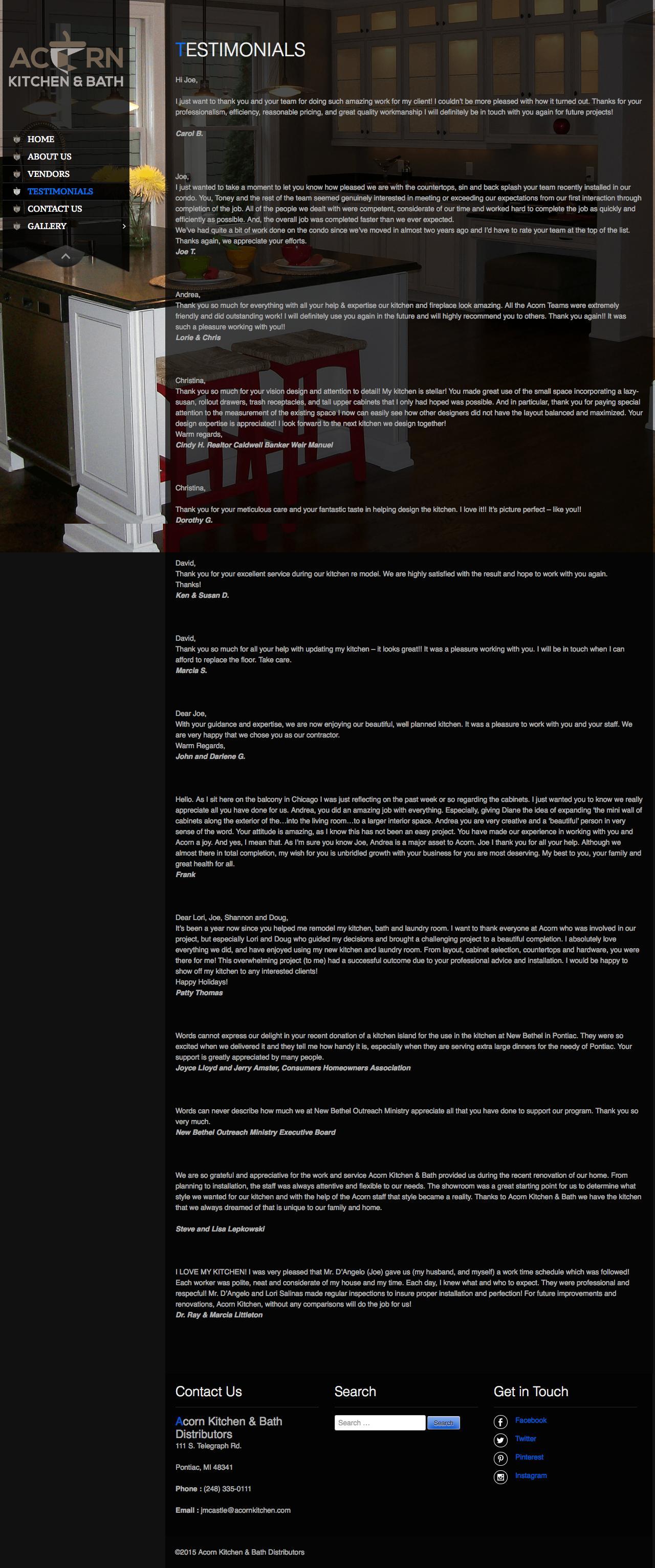 Screenshot of acornkitchen.com - Testimonials - Acorn Kitchen & Bath Distributors - captured Sept. 25, 2015