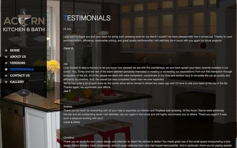 Screenshot of Testimonials Page acornkitchen.com - Testimonials - Acorn Kitchen & Bath Distributors - captured Sept. 25, 2015