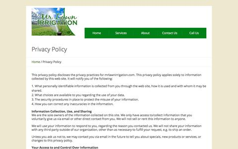 Screenshot of Privacy Page mrlawnirrigation.com - Privacy Policy | Mr. Lawn Irrigation - captured Oct. 25, 2017