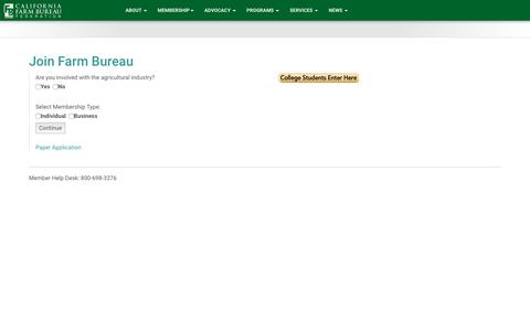 Screenshot of Signup Page cfbf.com - Join Farm Bureau - captured Oct. 16, 2016