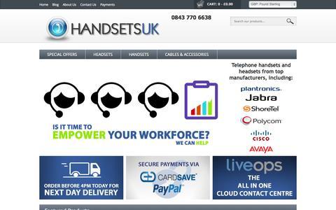 Screenshot of Home Page handsetsuk.com - Handsets UK | - captured Sept. 22, 2014
