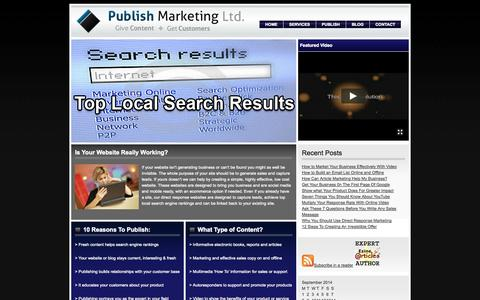 Screenshot of Home Page publishmarketing.com - Colchester Internet Marketing Company - Internet Marketing - Search Engine Optimization - Email Marketing - Content Creation - Article Marketing - Video Marketing - Social Media - captured Sept. 30, 2014