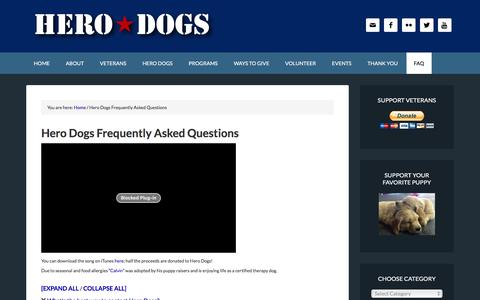 Screenshot of FAQ Page hero-dogs.org - Hero Dogs Frequently Asked Questions   Hero Dogs - captured Jan. 29, 2016