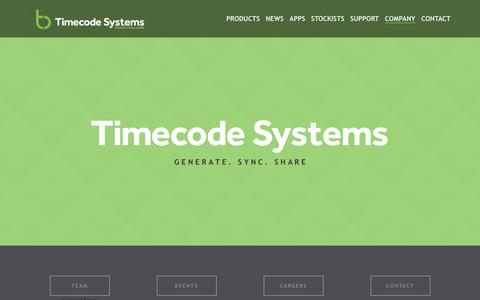 Screenshot of About Page timecodesystems.com - Timecode Systems | Generate. Sync. Share. | About - captured Feb. 21, 2016