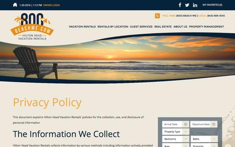Screenshot of Privacy Page 800beachme.com - Privacy Policy • Hilton Head Vacation Rentals - captured Jan. 29, 2016