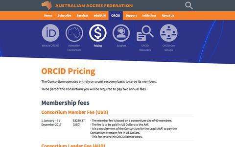 Screenshot of Pricing Page aaf.edu.au - Australian Access Federation - captured Oct. 9, 2017
