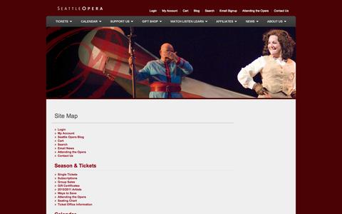 Screenshot of Site Map Page seattleopera.org - Site Map - captured Oct. 27, 2014
