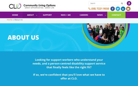 Screenshot of About Page clo.org.au - Specialist Support Coordination | NDIS Provider Adelaide - captured Sept. 29, 2018