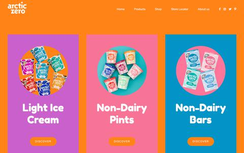 Screenshot of Products Page arcticzero.com - Products – ARCTIC ZERO - captured Aug. 5, 2018