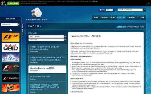 Screenshot of Jobs Page codemasters.com - Codemasters - Careers - Creative Director - AR9383 - captured Sept. 10, 2014