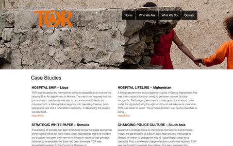 Screenshot of Case Studies Page torinternational.com - Case Studies | TOR International - captured Oct. 1, 2014