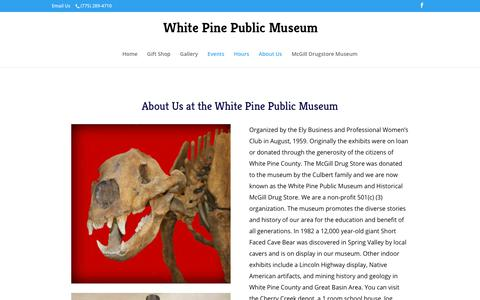 Screenshot of About Page Hours Page wpmuseum.org - White Pine Public Museum About Us - captured Oct. 27, 2018