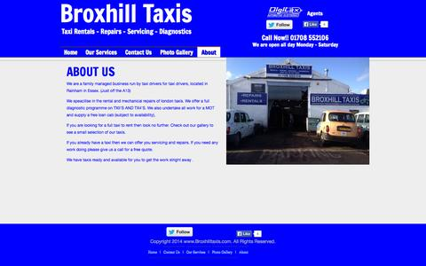 Screenshot of About Page broxhilltaxis.com - About - Broxhill Taxi Rentals - captured Sept. 30, 2014