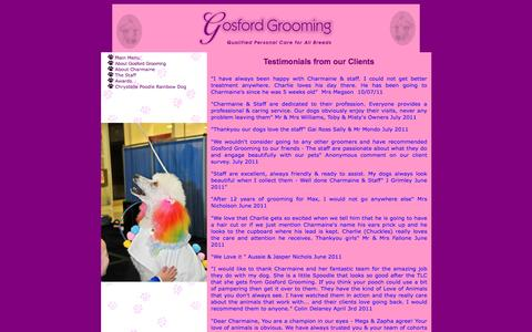 Screenshot of Testimonials Page gosfordgrooming.com.au - Gosford Grooming - About Us - captured April 12, 2017