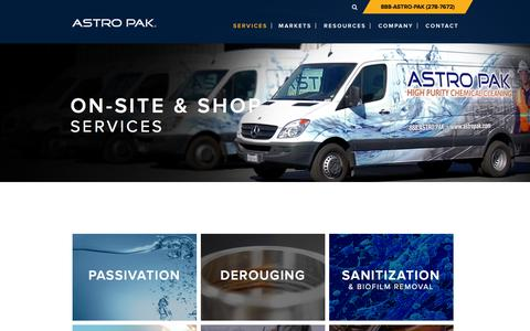 Screenshot of Services Page astropak.com - Services-Onsite Shop - Astro Pak - captured Feb. 6, 2016