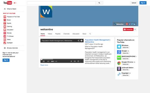 Screenshot of YouTube Page youtube.com - wellcentive  - YouTube - captured Oct. 22, 2014