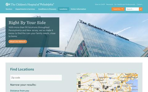Screenshot of Locations Page chop.edu - Locations | The Children's Hospital of Philadelphia - captured Oct. 26, 2014