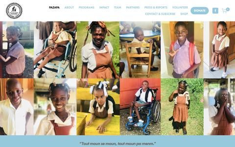 Screenshot of Home Page pazapa.org - Welcome to the Pazapa Center for Children with Disabilities, Haiti - captured July 10, 2018
