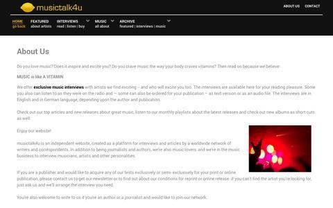 Screenshot of About Page musictalk4u.com - musictalk4u - musictalk4u - captured Jan. 11, 2016