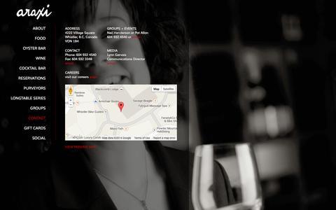 Screenshot of Contact Page araxi.com - Contact | Araxi Restaurant + Bar | Whistler Fine Dining - captured Oct. 4, 2014