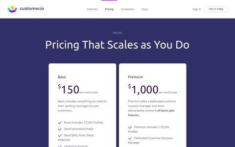Screenshot of Pricing Page customer.io - Pricing - Customer.io - captured Feb. 11, 2019
