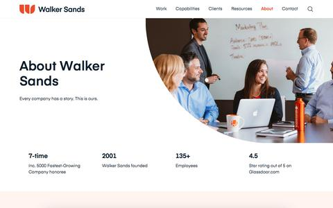 Screenshot of About Page walkersands.com - About Us | Walker Sands - captured Sept. 11, 2019
