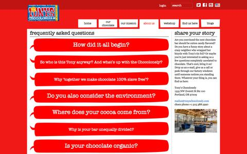 Screenshot of FAQ Page tonyschocolonely.com - frequently asked questions   Tony's Chocolonely - captured Oct. 24, 2017