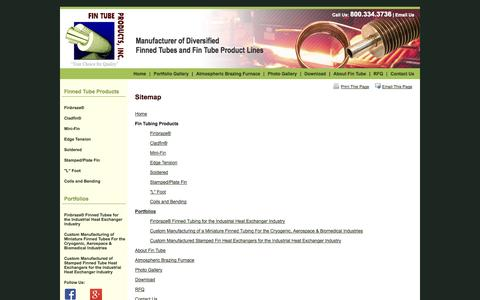 Screenshot of Site Map Page fintube.com - Sitemap - Wadsworth, Ohio, Fin Tube Products, Inc. - captured Oct. 5, 2014