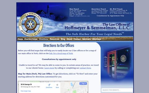 Screenshot of Maps & Directions Page hoffsemm.com - Directions to Law Offices in York & Shrewsbury PA - captured Sept. 29, 2018