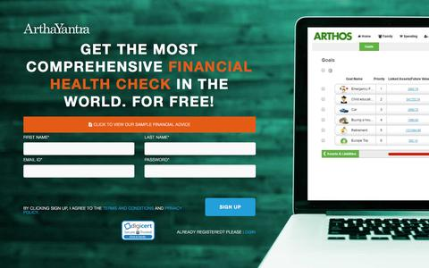 Screenshot of Signup Page arthayantra.com - ArthaYantra is World's only full service Robo Advisor, SignUP to ARTHOS - captured July 26, 2016
