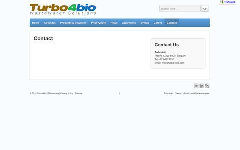 Screenshot of Contact Page turbo4bio.com - Contact | Turbo4Bio - captured Oct. 7, 2014
