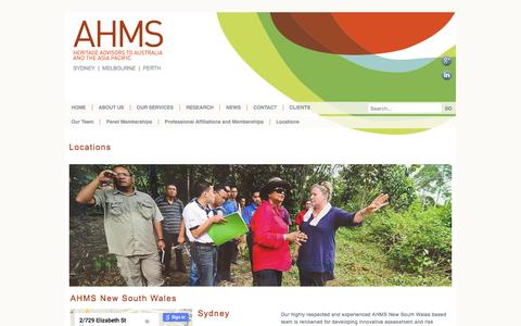 Screenshot of Locations Page ahms.com.au - About Us | Heritage Advisors to Australia and The Asia Pacific | Archaeological Consultants Australia | Aboriginal Cultural Values Mapping Australia | Conservation Planning Consultants | Heritage Property Assessment Australia | Cultural Heritage Mana - captured Feb. 6, 2016