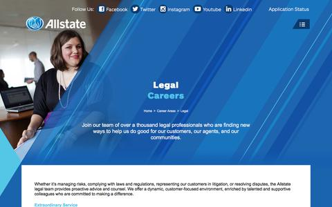 Screenshot of Terms Page allstate.jobs - Legal Jobs – Allstate Careers - captured July 8, 2018