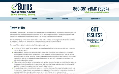 Screenshot of Terms Page eburnsmarketing.com - Terms of Service | Promote Your Business Online - captured Sept. 30, 2018