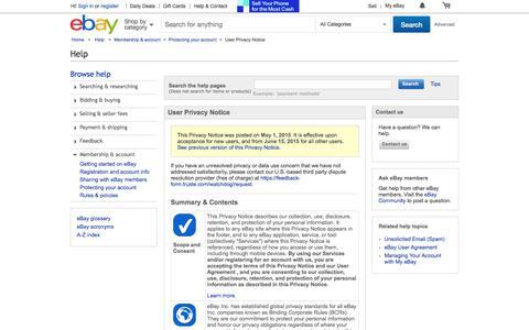 Screenshot of Privacy Page ebay.com - User Privacy Notice - captured Sept. 19, 2017