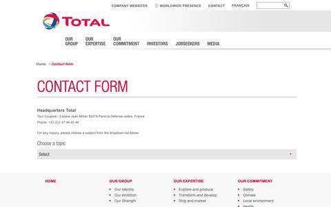Screenshot of Contact Page total.com - Contact form | total.com - captured Oct. 26, 2018