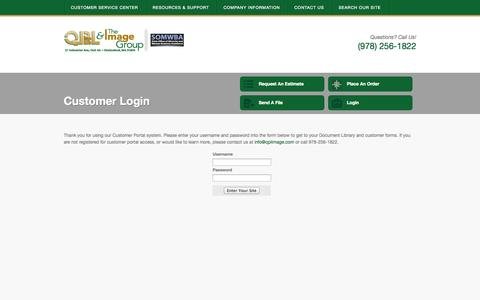 Screenshot of Login Page qplimage.com - QPL Inc. & The Image Group : Customer Portal : Customer Login - captured Oct. 1, 2014