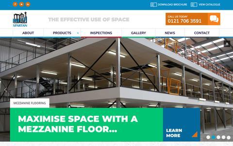 Screenshot of Home Page spartandirect.co.uk - Racking, Mezzanine and Storage Supplier | Spartan Direct - captured Nov. 19, 2018