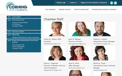 Screenshot of Team Page corningny.com - Our Team - Corning Area Chamber of Commerce, NY - captured Sept. 29, 2018