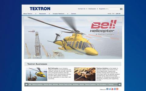 Screenshot of Home Page textron.com - Textron Home - captured Oct. 21, 2015