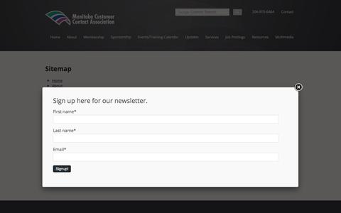 Screenshot of Site Map Page mcca.mb.ca - Sitemap - Manitoba Customer Contact Association - captured Oct. 5, 2017