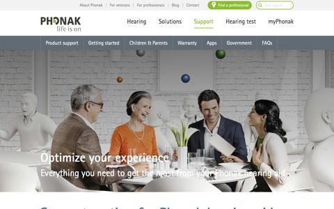 Screenshot of Support Page phonak.com - Hearing aid support - optimize your experience | Phonak - captured Dec. 31, 2016