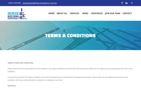 Screenshot of Terms Page mbconsultancy.com.au - Terms & Conditions - Morse Building Consultancy - captured Oct. 18, 2018