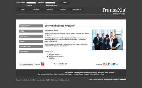 Screenshot of Jobs Page transaxia.ch - Become a business introducer - TransaXia Montreux - Real Estate - Groupe TransaXia Switzerland SA - captured Oct. 3, 2014