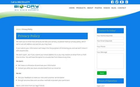 Screenshot of Privacy Page bio-dry.com - Privacy Policy | Bio-Dry - captured Oct. 10, 2017